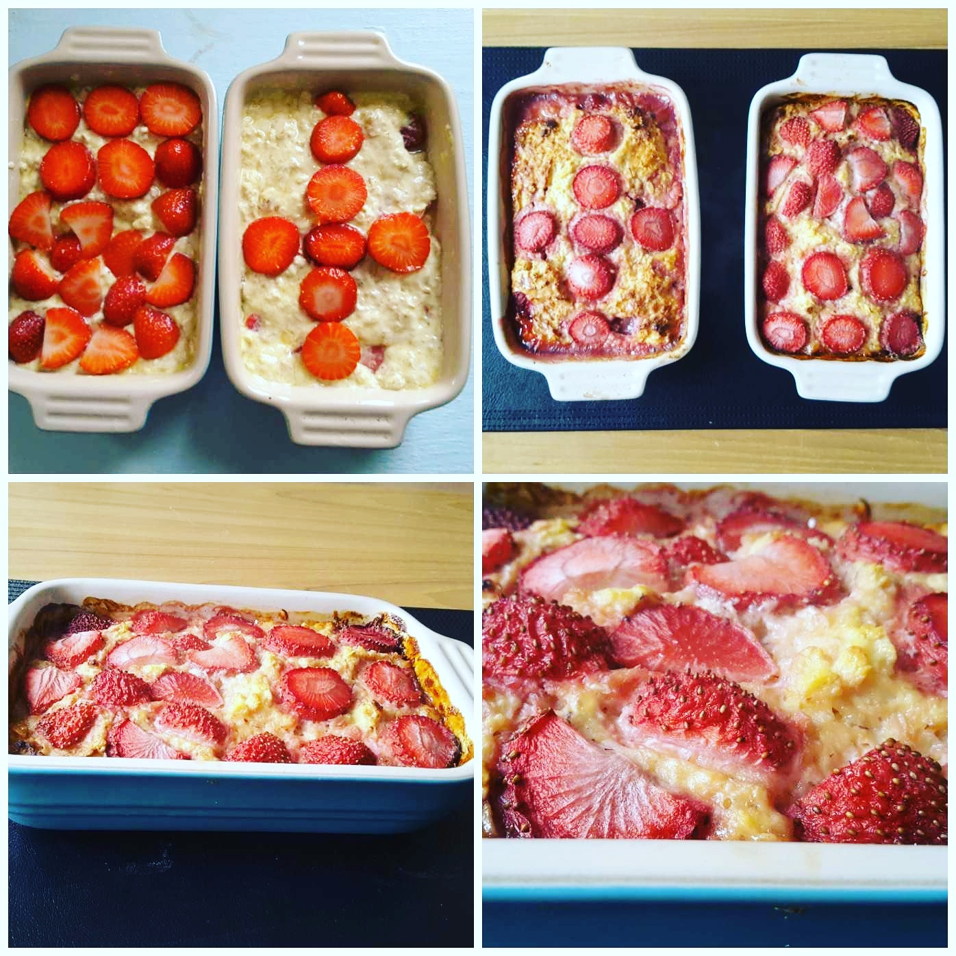 Strawberry n cream baked porridge
